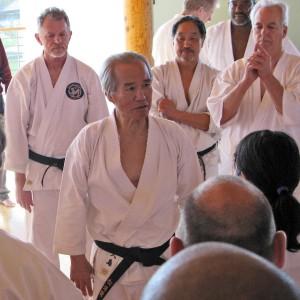 Ron Thom (SKA President), Tsutomu Ohshima (Shihan), John Teramoto (BBC President), Norman Welch (Canada Shotokan President)