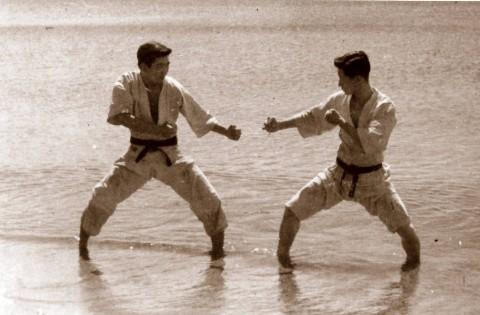 Waseda Captain, Hiroshi Kamata faces Vice-Captain, Matsuo Shibuya in the waters of Sado Island. (circa 1948).