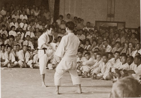 Mr. Ohshima demonstrating front kick in 1957, at the first Karate demonstration witnessed by the general public in Little Tokyo.