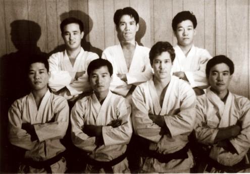 Senior Black Belts of the SCKA: Front row L-R; Shoji Okabe, Yoshiaki Yamagami, Calyor Adkins, James Sagawa. Back row; Mamoru Ohara, Tsutomu Ohshima, Sadaharu Honda. Missing; Jordan Roth.