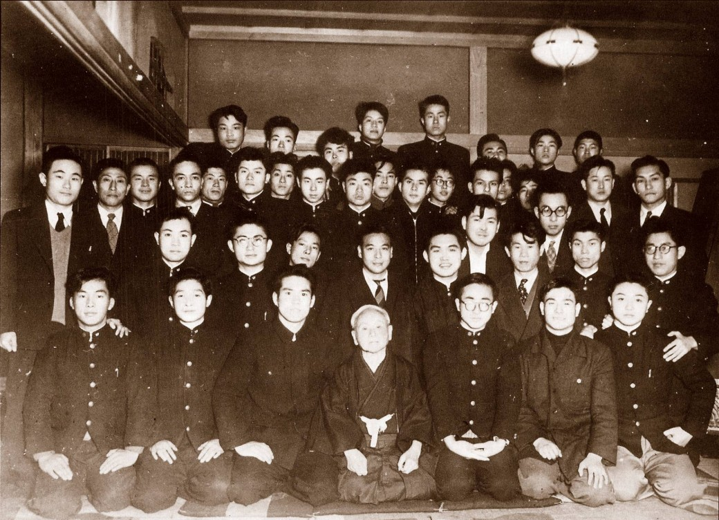 Waseda University Karate Club, 1953 with Captain Tsutomu Ohshima sitting on Master Funakoshi's right.