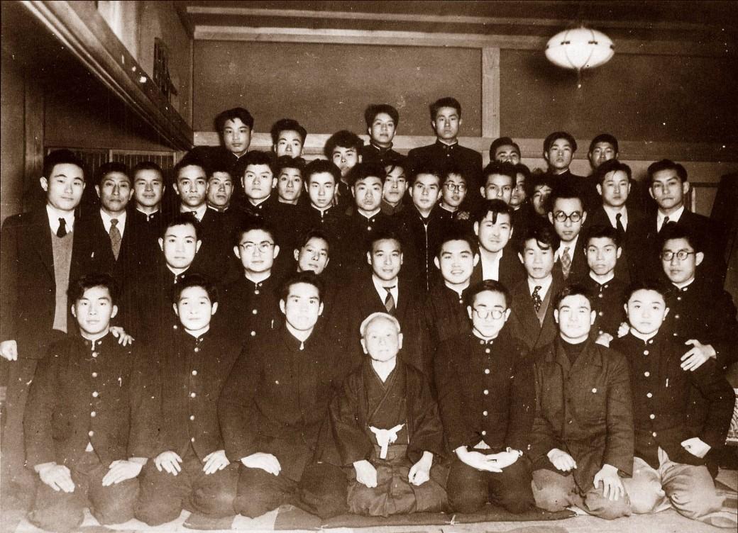 Waseda University Karate Club, 1953 with Captain Tsutomu Ohshima sitting on Master Funakoshi's right.