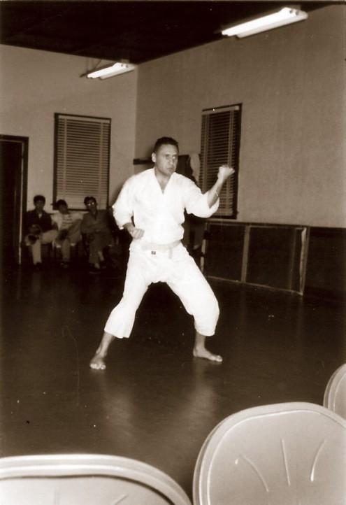 1957, Jordan Roth performing Tekki Shodan at the Konko Church in Los Angeles.